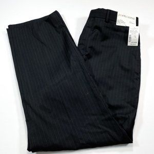 Pronto Uomo 32x30 Black Stripe Wool Flat Front NEW